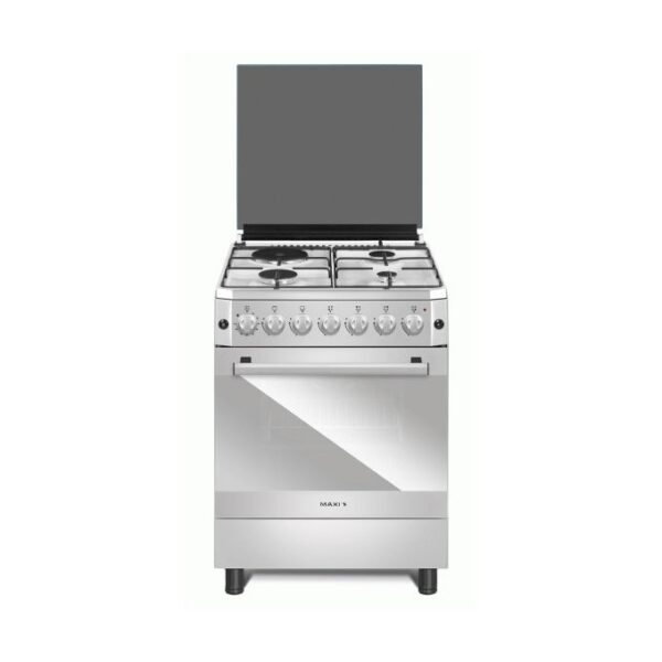 Maxi Gas Cooker 60 cm * 60 cm, 4 Gas burners, glass, stainless model 6060 4B Basic Black Grey
