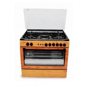 Scanfrost Electric and Gas Cooker 4Gas + 2Electric Medium Wood finish Auto Ignition model CK 9425